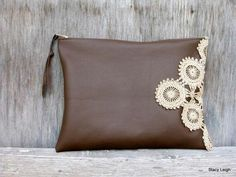 Leather and Lace Clutch Bag in Chocolate Brown with Vintage Ecru Lace by Stacy Leigh Ready to Ship Sewing Leather, Leather And Lace, Leather Craft, Diy Wallet, Clutch Wallet, Diy Bags Purses, Purses And Handbags, Lace Bag, Diy Handbag
