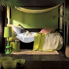 .. Nature inspired bedroom ..like the lamp on the floor idea
