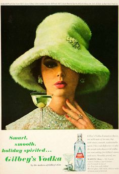 1963 Ad Vintage Gilbey's Vodka Martini Cocktail Recipe 60s Fashion Green Fur Hat