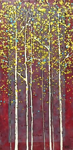 Yes, She Lives Here, encaustic tree painting by Catharine Clarke Tree Paintings, Colorful Paintings, Landscape Paintings, Burgundy Aesthetic, Red Interior Design, Modern Art, Contemporary Art, Red Home Decor, Quirky Decor