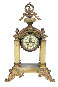 *Baroque style gilt bronze and onyx mantle clock Late 19th Century