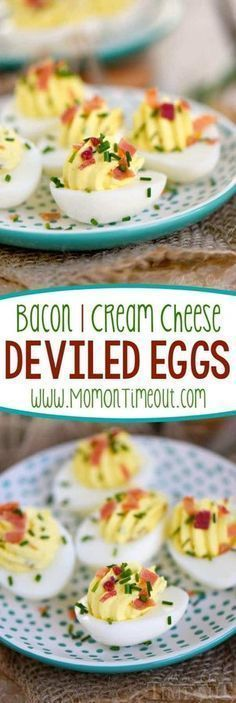 Bacon Cream Cheese Deviled Eggs are delightfully creamy and perfectly savory with the addition of bacon and chives! Double the batch because these won't last long! The perfect appetizer for picnics, B (Bake Goods Bacon) Tapas, Best Appetizers, Appetizer Recipes, Party Appetizers, Cheese Appetizers, Tailgate Appetizers, Easter Appetizers, Easter Desserts, Egg Recipes
