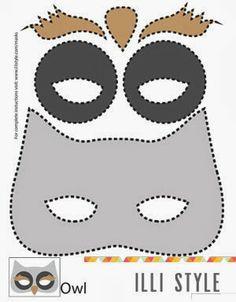 Template για μάσκες ζωάκια-κουκουβάγια