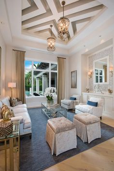 An open concept transitional coastal contemporary designed home by Weber Design Group, an architectural design & planning firm based out of Naples & Palm Beach, FL. Naples, Palm Beach, Florida House Plans, Florida Home, Home Design, Interior Design, Interior Columns, Coastal Bedrooms, False Ceiling Design