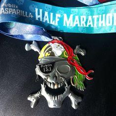 Gasparilla Half Marathon medal in Tampa Florida - www.halfmarathonsearch.com Half Marathon Calendar USA photos from runners, swag, bling, fun running photos and more.  #halfmarathon #running #bling