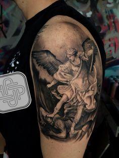 St.Michael black and grey tattoo #jptattoos #tattoos