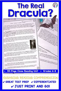 The Close Reading Activities for middle school students includes a high-interest article on Vlad Dracula. The engaging passage and common core unit is differentiated to suit the needs of struggling and general education students. Lesson plans include test prep, writing, and reading comprehension for 6th, 7th, and 8th grade students. Focus is on author's purpose, cause and effect, and close reading practice.  Includes graphic organizers, writing frames, teacher tips. Just print and go!