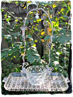Vintage Glassware Bird Feeder Garden