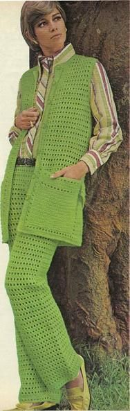 eyelet pant set ~ This site is FULL of grandma's crocheting -- lots from the 60s.  It's a reminder of why crocheting got such a bad rap back in the day.  Good for a giggle.
