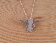 Sterling Silver Etched Cow Necklace £10.00