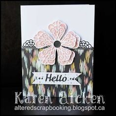 Hello –Karen Aickenhere with an A2 size floral card to share. The great thing about a simple design like this is how easy it is to change. Use Christmas patterned papers and colours for the flowe...