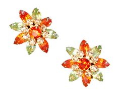 Vintage Juliana Earrings  Orange and Green by MadgesHatBox on Etsy, $45.00