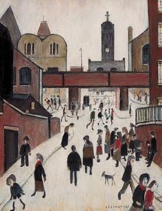 Street Scene with Viaduct Art Print by L S Lowry at King & McGaw Salford, Turner Painting, Famous Artists Paintings, Nostalgic Art, Train Art, Spencer, English Artists, Oil Painting Reproductions, Naive Art