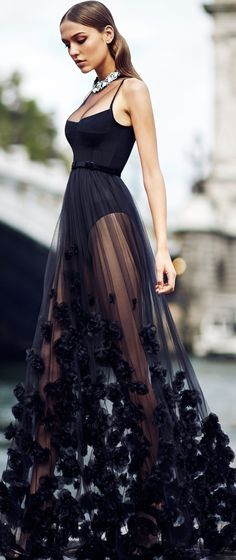 Sexy, flowing black dress with floral decorations #sexy #black #dress #flowing