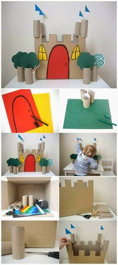 Let's Try kids ! Simple steps to make castle with Toilet Paper Roll. #kidsactivities #kidscrafts #DIY #HowTo