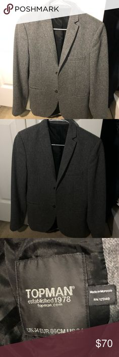 TopMan Blazer Jacket in Gray size 34 TopMan blazer   Size: 34  No flaws at all, very clean and smart. Just a tad bit too big for me otherwise I would definitely keep. Topman Suits & Blazers Sport Coats & Blazers