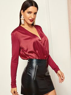 To find out about the Plunging Neck Surplice Wrap Bodysuit at SHEIN, part of our latest Bodysuits ready to shop online today! Blouse Sexy, Blouse And Skirt, Blouse Outfit, Hot Outfits, Skirt Outfits, Satin Bluse, Leather Dresses, Leather Skirts, Satin Skirt