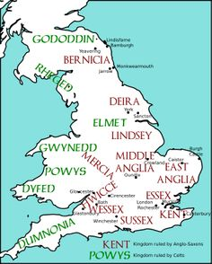 map of england 1100 | English: Map of England and Wales, showing Anglo-Saxon and Celtic ...