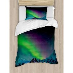 East Urban Home Northern Lights Southern Iceland on Sky Over Rocky Hills Wild Night View Duvet Cover Set Size: Twin Rocky Hill, Wood Stars, Chevron Quilt, Stars At Night, Cotton Sheet Sets, Quilt Sets, Green And Purple, Comforter Sets, Home Textile