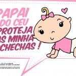 Plaquinhas para Chá de Bebê - Papai do céu proteja as minhas bochechas menina