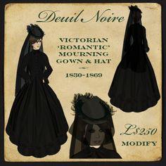 """Montagne Noire - Deuil Noire 1830-1869 Victorian mourning dress, hat & veil - """"Romantic"""""""