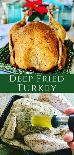 How To Deep Fry a Turkey. A faster way to make Thanksgiving Turkey. Herb butter turkey injection recipe adds flavor throughout with a tasty dry rub. A Christmas Turkey that's Crispy outside, juicy inside. Deep Fried Turkey Source by pfoodadventures Fried Turkey Injection Recipe, Deep Fried Turkey Recipe, Fry Turkey Recipes, Burger Recipes, Turkey Injection Marinade, Turkey Marinade, Turkey Seasoning, Injecting Turkey Recipes, Deep Fried Recipes