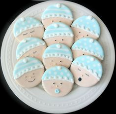 Decorated Baby Shower Cookies- Cute Baby Faces in your gender choice