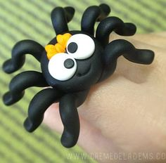 This has to be perfect for Halloween! A polymer clay spooky spider.