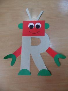 R for robot Letter R Activities, Preschool Letter Crafts, Alphabet Letter Crafts, Abc Crafts, Daycare Crafts, Preschool Learning Activities, Learning Letters, Preschool Activities, Letter Tracing