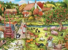 Feeding Time At The Farm is a jigsaw is designed by Debbie Cook. The puzzle depicts a farm with a variety of different animals. Best Jigsaw, Writing Pictures, Cartoon Art Styles, Country Life, Farm Animals, 1000 Piece Jigsaw Puzzles, Illustration Art, Illustrations, Exotic
