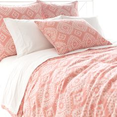 Buy your Ramala Coral Duvet Cover by Pine Cone Hill here. Add layers and depth to any bedding collection with the Ramala Coral Duvet Cover from Pine Cone Hill. Coral Pillows, Bed Pillows, Coral Bedroom, Modern Duvet Covers, Duvet Cover Sizes, Discount Bedding, Cotton Duvet, New Room, Pillows