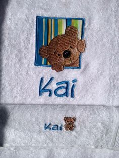 Kids/Baby Gift Embroidered personalized towel and face washer set - Purple cat embroidery - $40 https://www.facebook.com/LyndalsPersonalizedEmbroidery