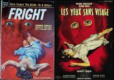 """A gauche, Rudolf Belarsky pour le roman """"Fright"""" (1950), à droite, l'affichiste Jean Mascii pour le film """"Les Yeux sans Visage"""" (1960)"""
