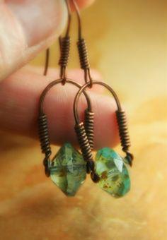 Copper Stirrup Style Beaded Earrings, Czech Glass Bead. $21.00, via Etsy.  AllowingArtDesigns