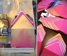 DIY // How to add gold tips to envelopes | I actually kind of like the ombre envelope they're using to block with!