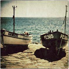 Summer Fleet  two Cornish fishing boats by the sea  by matthewbull, $25.00