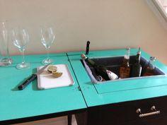 Beverage Cart - Repurposed Sewing Machine Table! $175