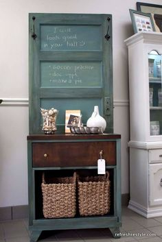 DIY - turn an old door into a super cute hall tree with a bench. Description from pinterest.com. I searched for this on bing.com/images