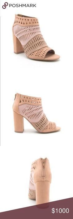 """JUST IN! NWT. Lazer cut blush pink block heels JUST IN! NWT. Lazer cut blush pink block heels. Back zipper closure. About 3.5"""" heel. Multi colored blush pink. Slightly padded footbed. Comes in the original box. True to size. Sorry, no trades. Shoes Ankle Boots & Booties"""