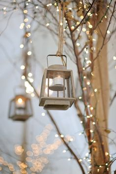 Lighted branches & hanging lanterns