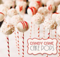 Fans of peppermint will love these red and white cake pops, coated in crunched up pieces of candy cane. Ser...