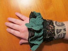OOAK Fabric Cuff Steampunk Upcycled Repurposed by GaleFridays