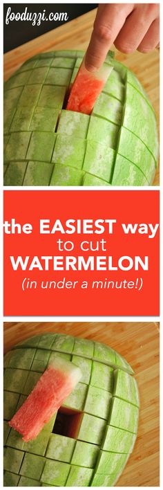 The Easiest Way to Cut Watermelon: learn how to cut a watermelon under a minute with step-by-step photos and a video! || fooduzzi.com recipes