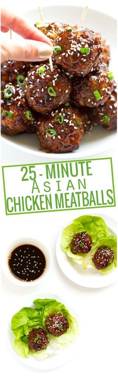 25 minute Asian Chicken Meatballs - loaded with asian flavors and so easy to make! Chicken Meatball Recipes, Chicken Meatballs, Asian Meatballs, Meatball Soup, Chicken Hoisin Sauce, Soy Sauce, Appetizer Recipes, Appetizers, Sandwich Recipes