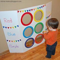 Minne-Mama: Color Toss Activity (with Video! Gross Motor Activities, Montessori Activities, Indoor Activities, Infant Activities, Learning Activities, Activities For Kids, Toddler Learning, Toddler Fun, Toddler Preschool