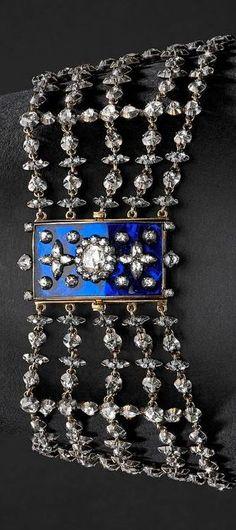 19th century enamel and diamond collar. #AntiqueCollar #AntiqueJewelry