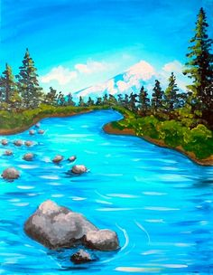 Spring River Canvas Painting Projects, Acrylic Painting Lessons, Easy Canvas Painting, Simple Acrylic Paintings, Canvas Art, Gouache Painting, Easy Landscape Paintings, Scenery Paintings, Landscape Art