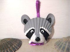 Raccoon Ornament. Hand painted seashell raccoon ornament. Beach, nautical, Cape Cod raccoon art.