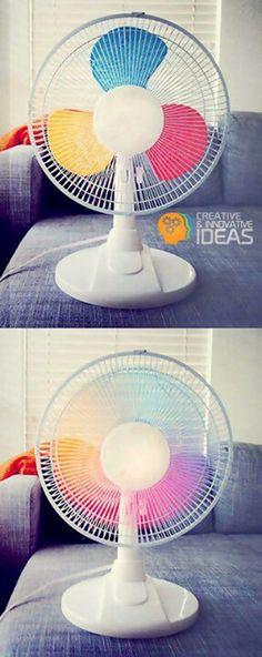 Astucé déco : peindre les pales d'un ventilateur pour avoir un joli effet multicolore quand il fonctionne