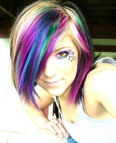 Pink, purple,& teal highlights